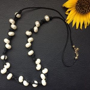 J.Crew Pearl & Cord Long Necklace